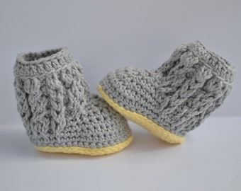 Handmade crochet baby cabled booties; baby boy; baby girl; baby shoes; cabled; baby photography prop; baby shower gift