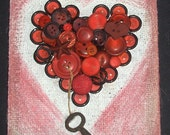 Key To My Prim Heart primitive rustic cottage vintage style shabby mixed media red buttons heart key burlap OOAK original art by micki