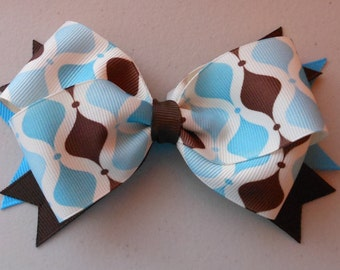 Brown, Blue and White Lattice Bow