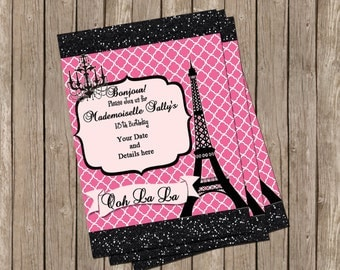 Teen Paris Themed Party, Invitation, Pink and Black ,Girl, Eifel Tower ...