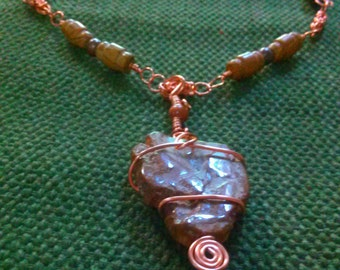 epoch: copper byzantine chainmaille & wire-wrap necklace featuring petrified wood, picture jasper, wood agate