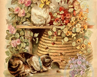 Delightful Cats and Bees Print, Cats, Victorian, Pet love, Playing in Garden, Pansies, Roses, Bee Hive,1910s Giclee Fine Art Print,11x14