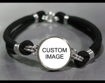 CUSTOM Image PHOTO Dime Stretch Bracelet - One size fits most - Made In USA