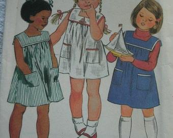 Girls Dress Size 5 Vintage Butterick Fast & Easy Pattern #3687 - UNCUT 1980's Vintage Pattern