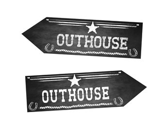 Western Themed Outhouse DIRECTIONAL Bathroom signs - Chalkboard Style - PRINTABLE file - diy Western Wedding or event signage