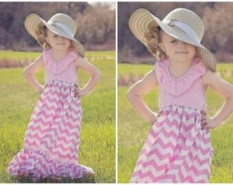 Girls Maxi Dress 'Pink Lemonade' Dress By Adalyn's Boutique