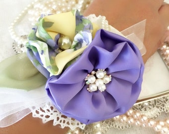 Shabby chic wedding corsage, Mother of the Bride Corsage, Floral Lavender, Green, and Ivory Fabric Flower Bracelet