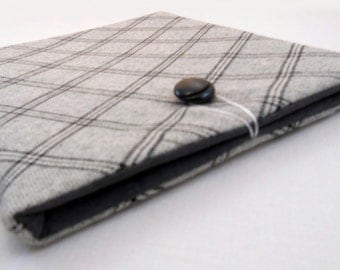 Plaid custom tablet case - black and gray iPad cover - iPad Air cover