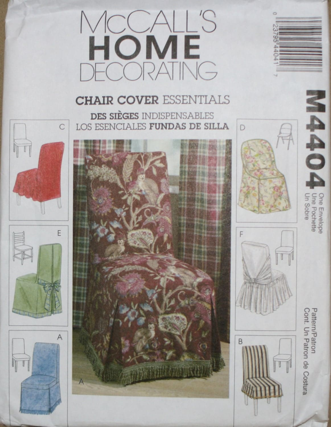 Mccall39s m4404 chair cover sewing pattern new uncut for Furniture cover sewing patterns