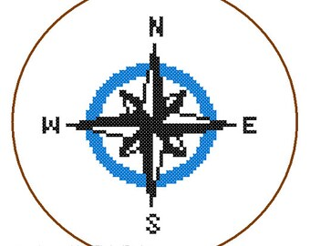 Instant Download Nautical Compass Cross Stitch Pattern blue wall art nautical card great gift