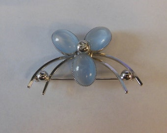 Vintage AMCO Sterling Silver Blue Stone Flower Brooch Pin