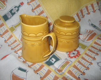 1960's Laughlin Golden Harvest  ceramic cream and sugar set