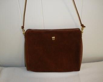 Retro Letisse Bordeaux Red Suede Purse Shoulder Bag 1970's