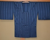 Japanese Vintage Kimono Michiyuki Jacket Haori Blue on Blue Stripe 6