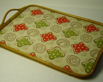 funky vintage 50s serving tray with Polka dot pattern and  bamboo handle
