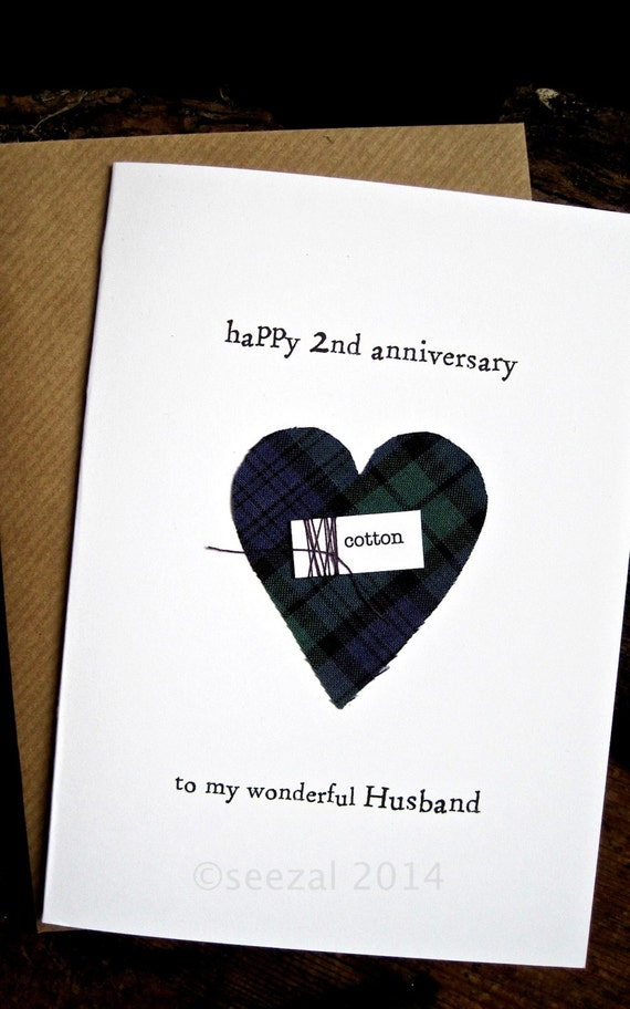 2nd Wedding Anniversary Keepsake Card Scottish Tartan Cotton Handmade ...