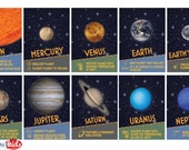 SPACE and PLANETS Printable Educational Solar System Banner - Space and Planets Artwork