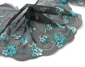 8 11/16 Inches Extra Wide Lace Trim|Black Floral|Turquoise Embroidered Lace Trim|Materials|Clothing Ribbon|Hairband|Accessories DIY