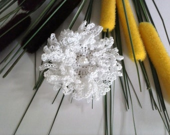 Wool Crochet Flower Brooch White Handmade