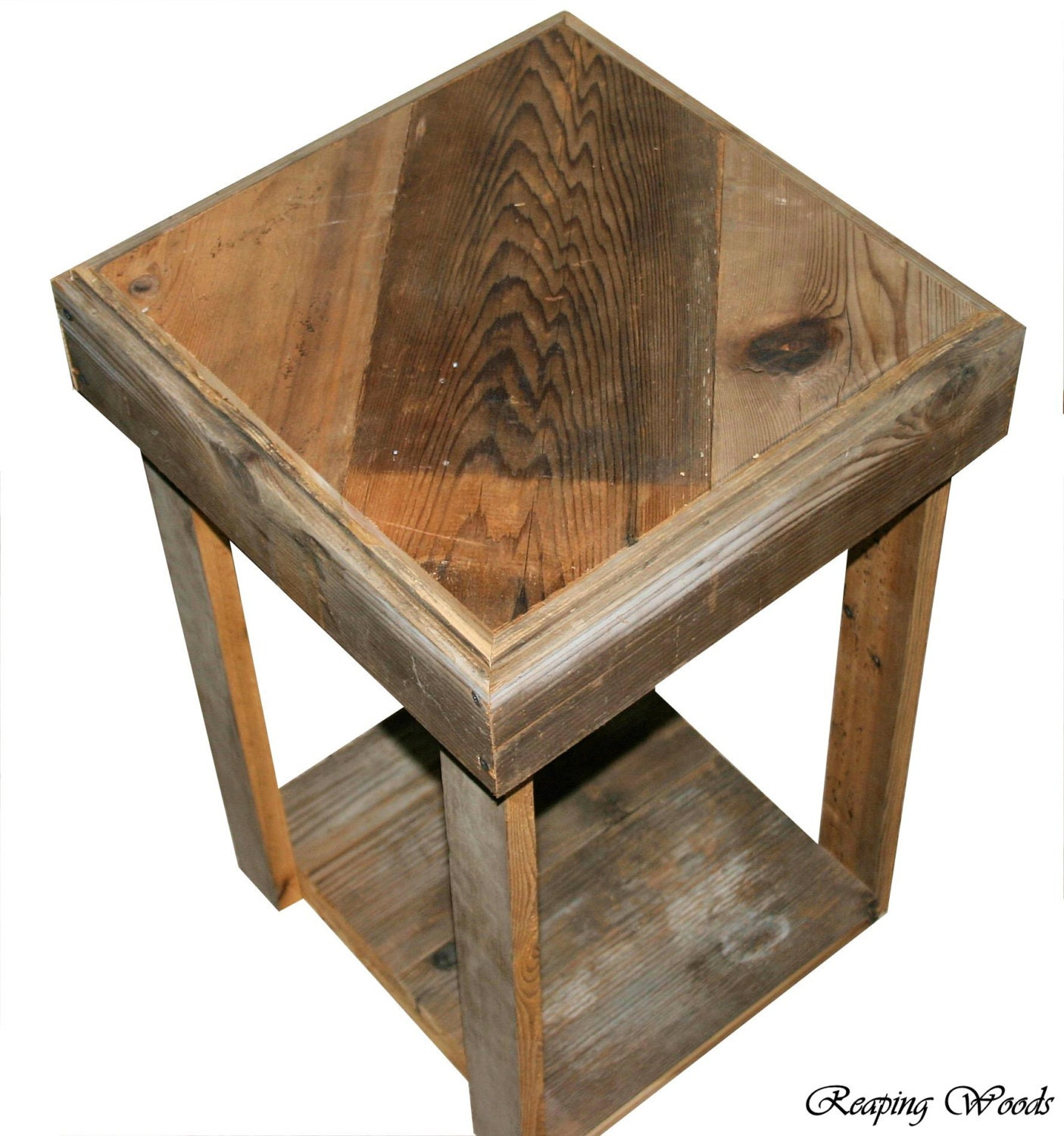 Reclaimed Antique Barn Wood Rustic End Table Book By