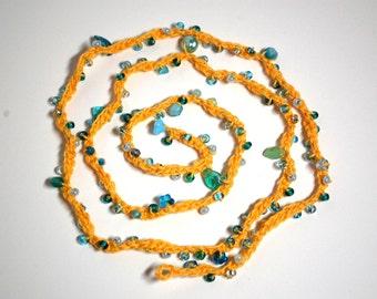 Wrap Around Yellow Bracelet, Anklet, Necklace with Czech Glass Beads
