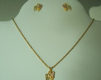 Dainty Vintage Black hills gold Pendant and Earring Set in tri colored Gold-Clearance priced !