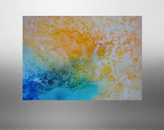 """Blues and yellows  abstract original painting , landscape from above. 22"""" x 28"""""""