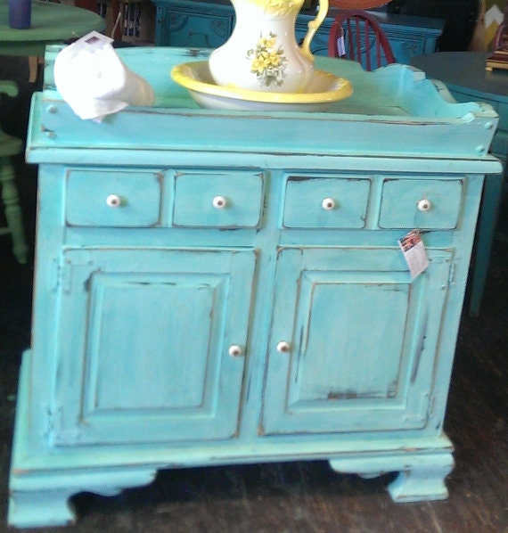 Dry Sink or Changing Table Jamaica blue. Vintage/antique/baby/diapers/wash stand/painted furniture/distressed/waxed/chalk/low VOC/eco friend