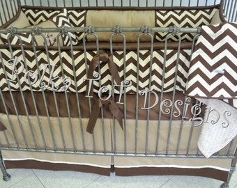 Brown & Tan Baby Bedding w/Nautical Flair