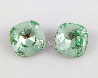 4470 CHRYSOLITE 12mm Swarovski Crystal Fancy Stone Cushion Cut, Mint Green