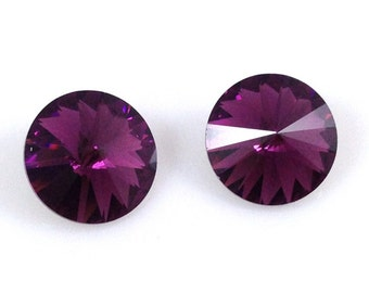 1122 AMETHYST 12mm 6pcs Swarovski Crystal Rivoli Round Pointed Foiled Back, Purple Crystal February Birthstone