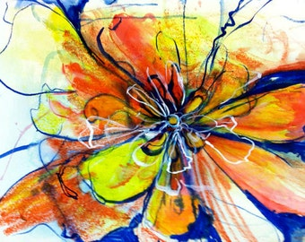 Abstract flower in orange and red