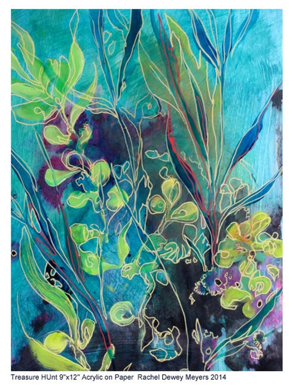 Blue abstract underwater sea life lanscape painting on paper for Sea life paintings artists