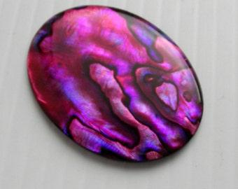 Large Red (pink) Abalone / Paua Shell Cabochon 40x30mm flat back