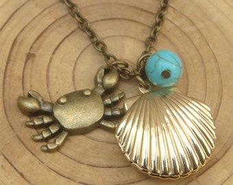 Antique Brass Turquoise Crab Locket Necklace Victorian Jewelry Gift Vintage Style