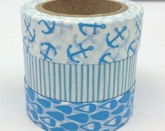 SALE WASHI TAPE--3 rolls Blue Washi Tape -- Masking Tape -Deco tape--15mm x 10m---Anchor, stripe and raindrops