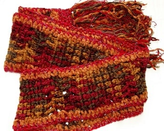 Handmade Crochet Scarf, Harvest, Autumn Leaves Colors, Rust, Brown, Cranberry, Orange, Soft