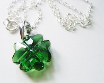 Clover necklace Shamrock pendant Sterling silver necklace Swarovski four leaf clover pendant Good luck jewelry