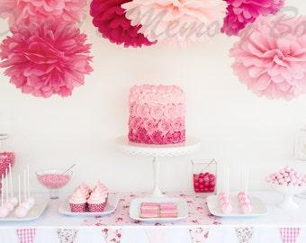12 Custom Handmade Tissue Paper Pom Poms / Wedding poms / Baby Shower Nursery Decoration