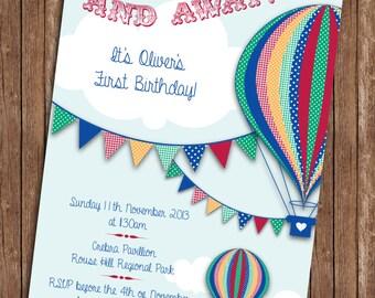 Hot Air Balloon Bright Birthday Invitation