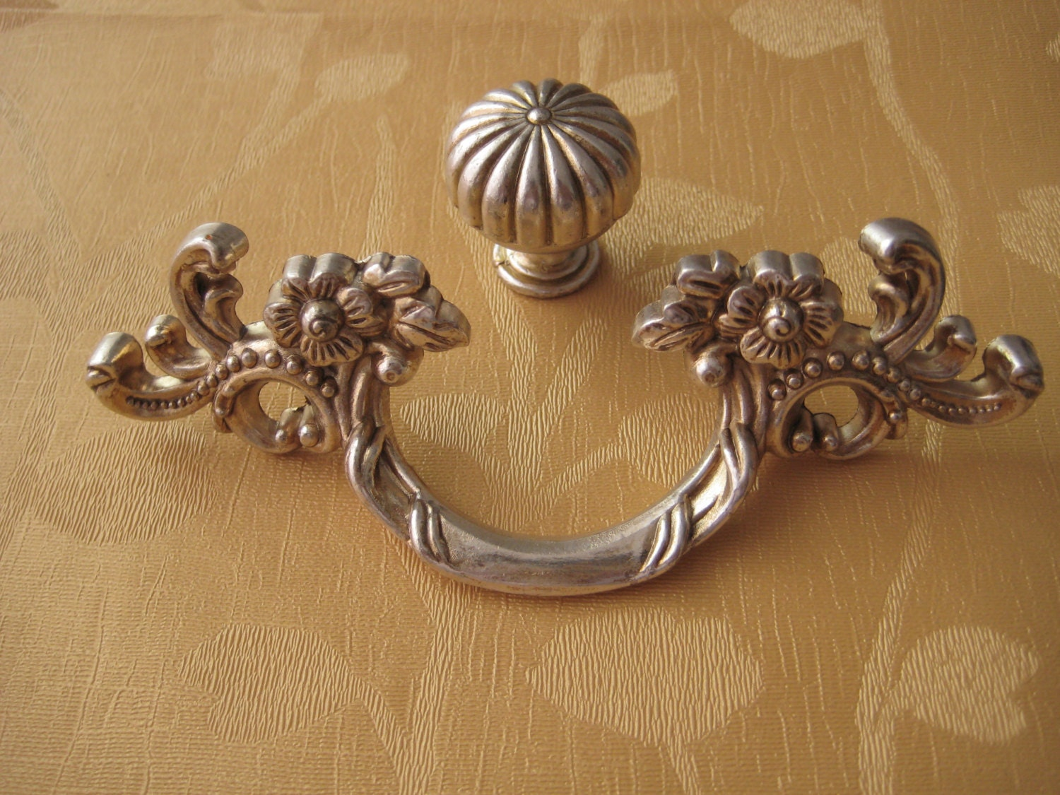 1.77'' 2.5'' Shabby Chic Dresser Pull Drawer Pulls Door Handles Antique Silver French Vintage