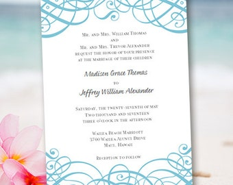 """Printable Wedding Invitation Template """"Calligraphic Swirls"""" Gray  & Blue 