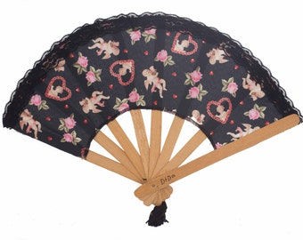 "Crafted Wooden Hand Fan, ""Cupid Invasion"" Fabric"