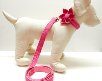 Dog Collar with Flower or Bow Tie and Leash Set - Pick Any Fabric In Shop
