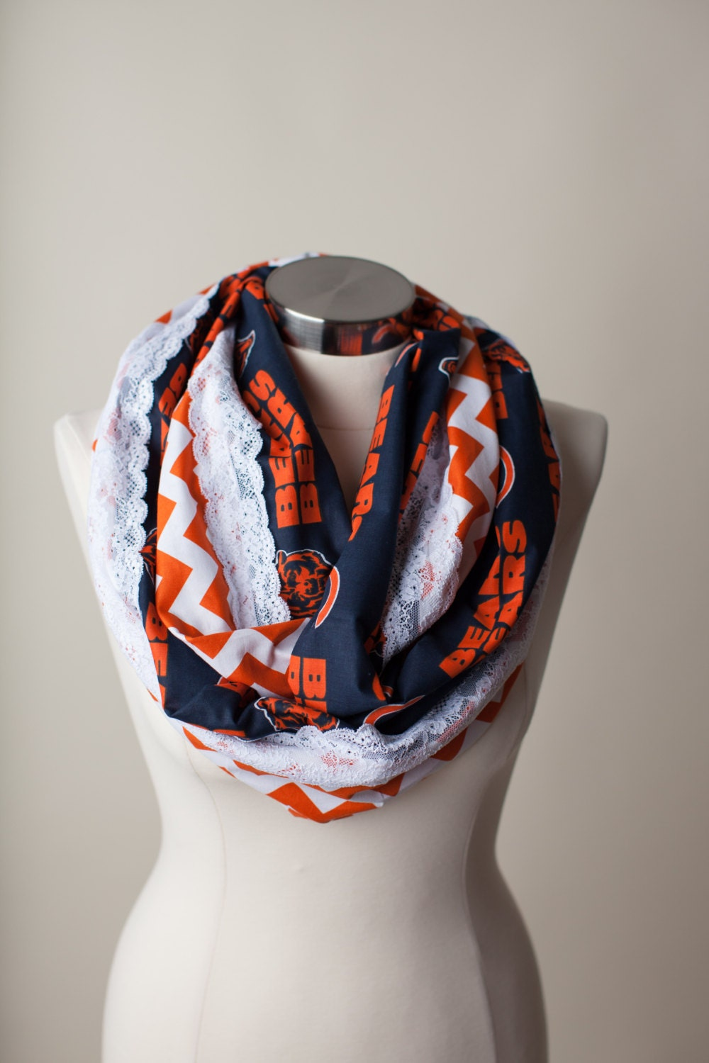chicago bears nfl infinity scarf by thriftygirldesign on etsy