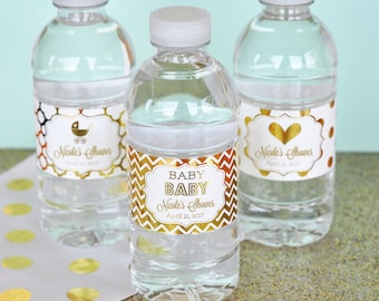 Mint and Gold Baby Shower Water Bottle Labels Baby Shower 1st  Birthday Party Labels - Personalized Baby Shower Decor  (EB2350FB) set of 18 