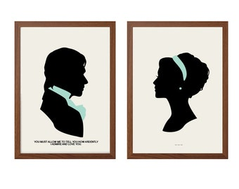 PRIDE AND PREJUDICE| Ardently Love You Poster :Mr Darcy + Elizabeth Bennet Modern Illustration Retro Art Wall Decor