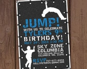 Jump Trampoline Park Birthday Party Invitation