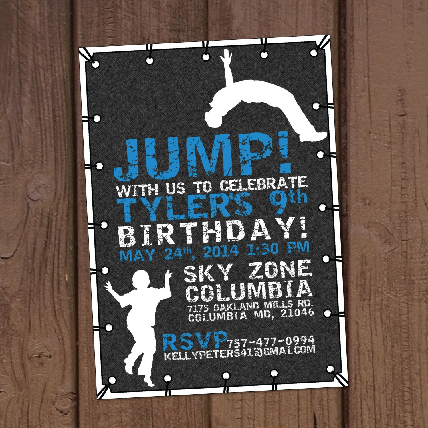 Trampoline Party Invitations: Jump Trampoline Park Birthday Party Invitation