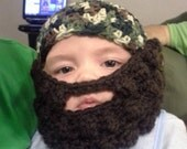 Duck Dynasty camouflauge beanie hat with removable beard and mustache baby toddler child  hunting beanie hat